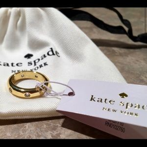 Kate Spade Gold-Tone Crystal Band Ring Size 7